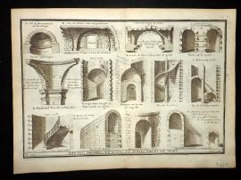 Vignola 1720 Architectural Print. Staircases, Arches etc 107